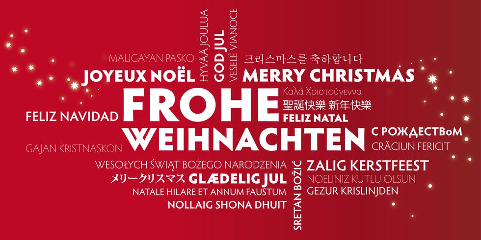 übersetzer Frohe Weihnachten.Weihnachtskarte Frohe Weihnachten übersetzt In Viele Sprachen Unidorm